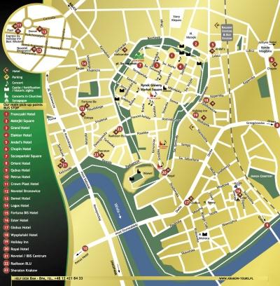 Benschilada city map of Krakow