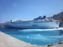 Ankunft in Ormos - Santorini mit der Fähre von Seajets.gr