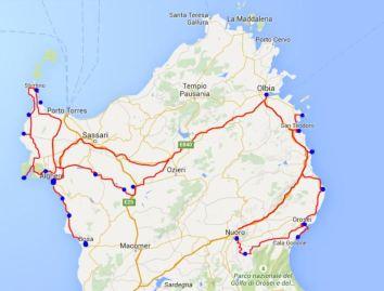 Reisekarte Sardinien - Travel Map Sardinia